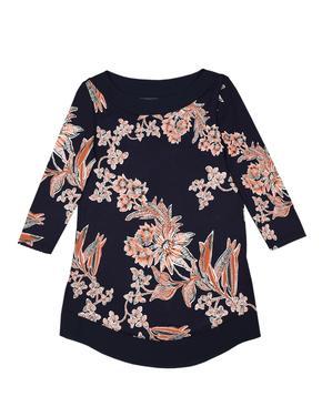 Lacivert Çiçek Desenli Tunik Bluz