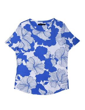 Mavi Kısa Kollu Çiçek Desenli T-Shirt