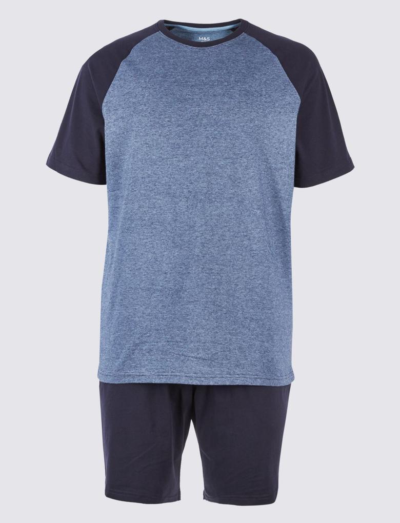Lacivert Saf Pamuklu Çizgili Pijama Takımı