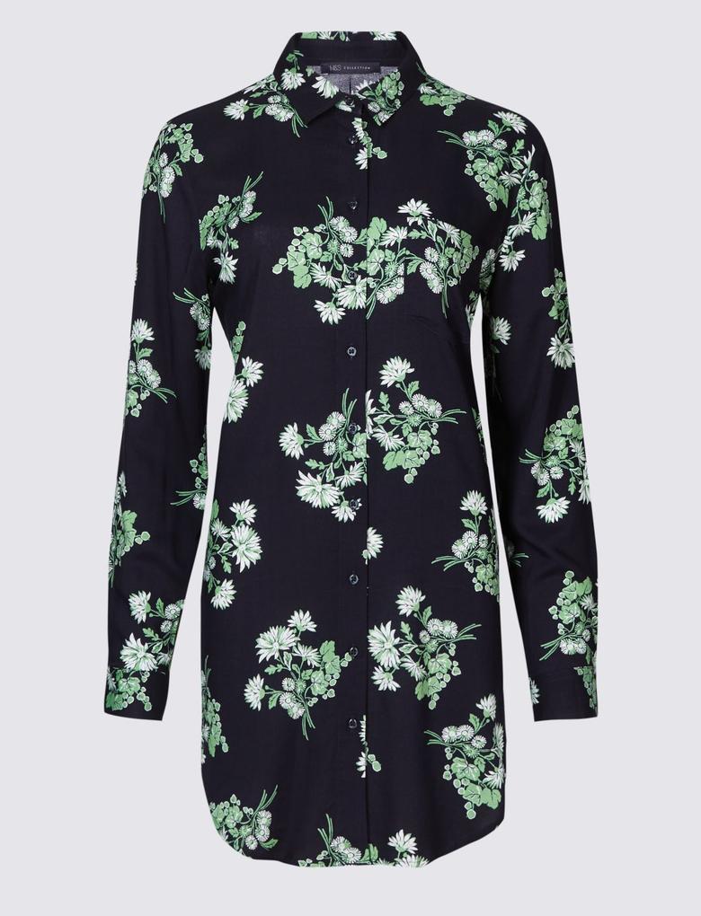 Lacivert Çiçek Desenli Uzun Kollu Gömlek