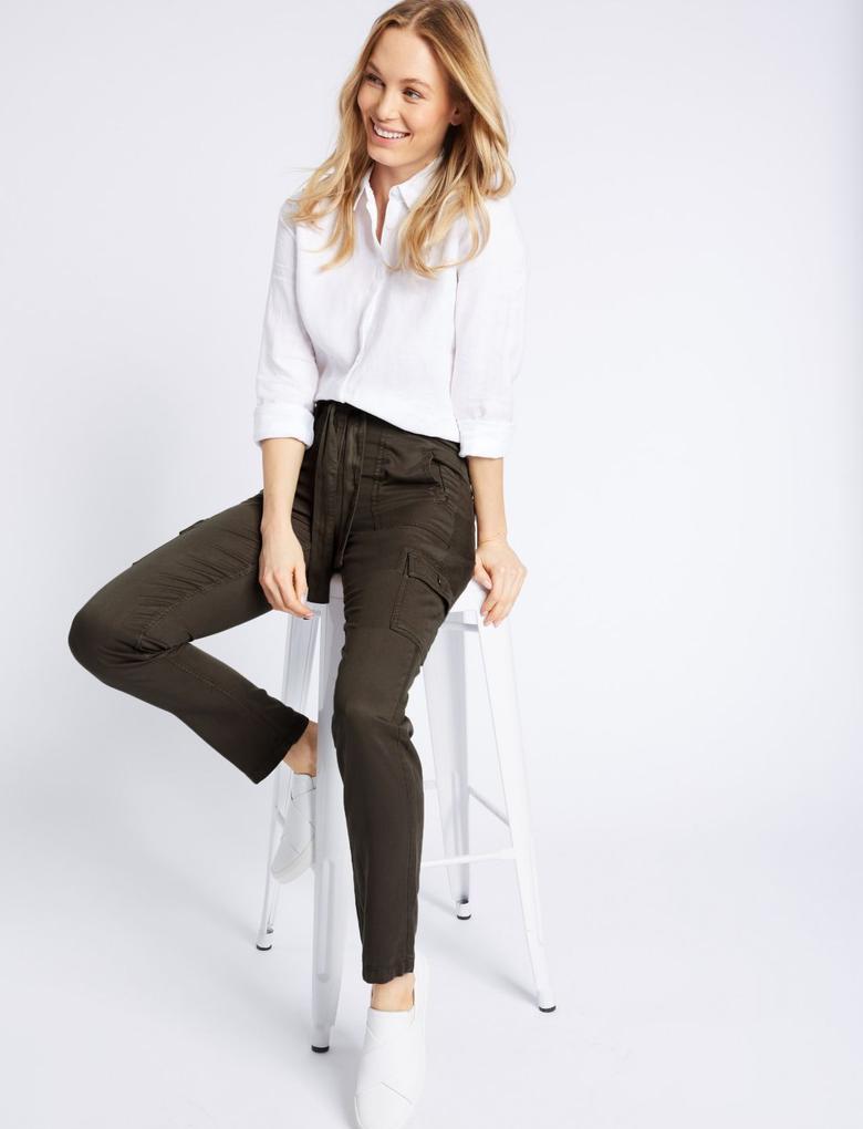 Saf Modal Kumaşlı Kargo Pantolon