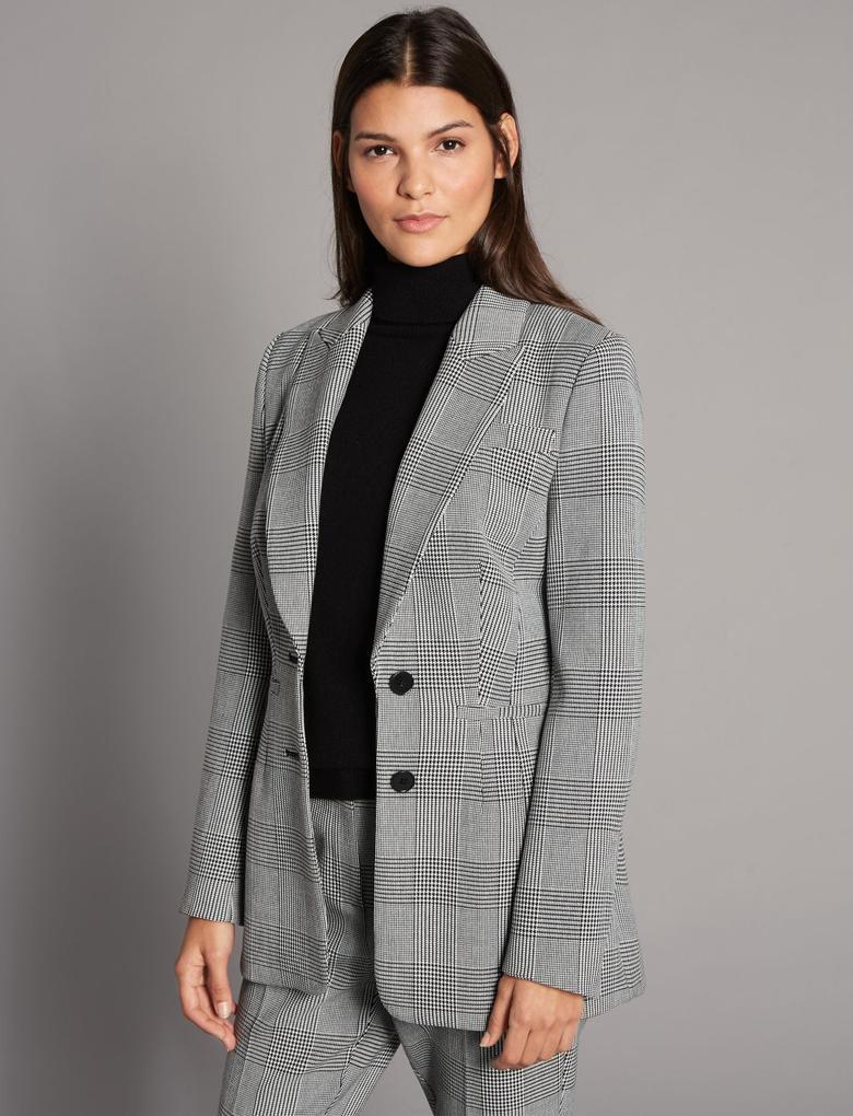 Siyah Ekose Blazer Ceket