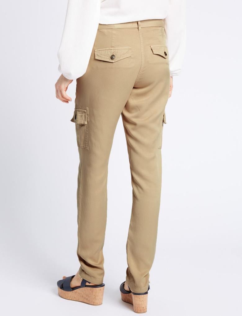 Renksiz Saf Modal Kumaşlı Kargo Pantolon