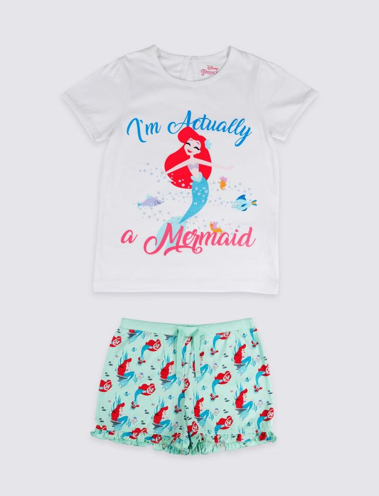 Beyaz Disney Princess™ Saf Pamuklu Pijama Takımı (2 - 10 Yaş)
