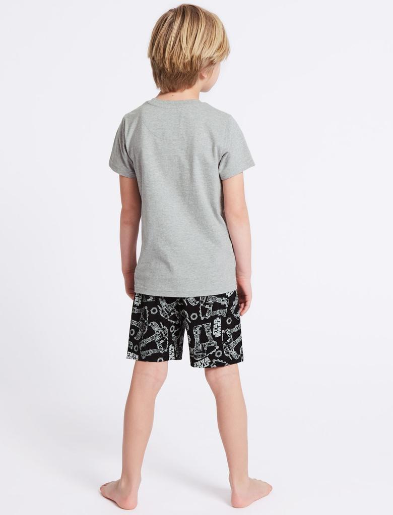 Gri Star Wars Saf Pamuklu Pijama Takımı (5 - 14 Yaş)