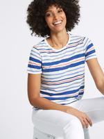 Çizgili Yuvarlak Yaka Kısa Kollu T-Shirt