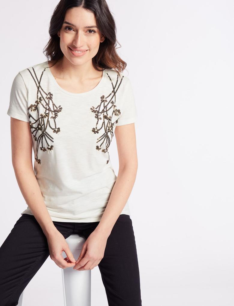 Pamuklu İşlemeli T-Shirt