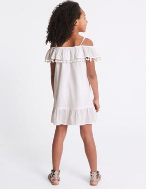 Saf Pamuklu Ponponlu Elbise (3 - 16 yaş)