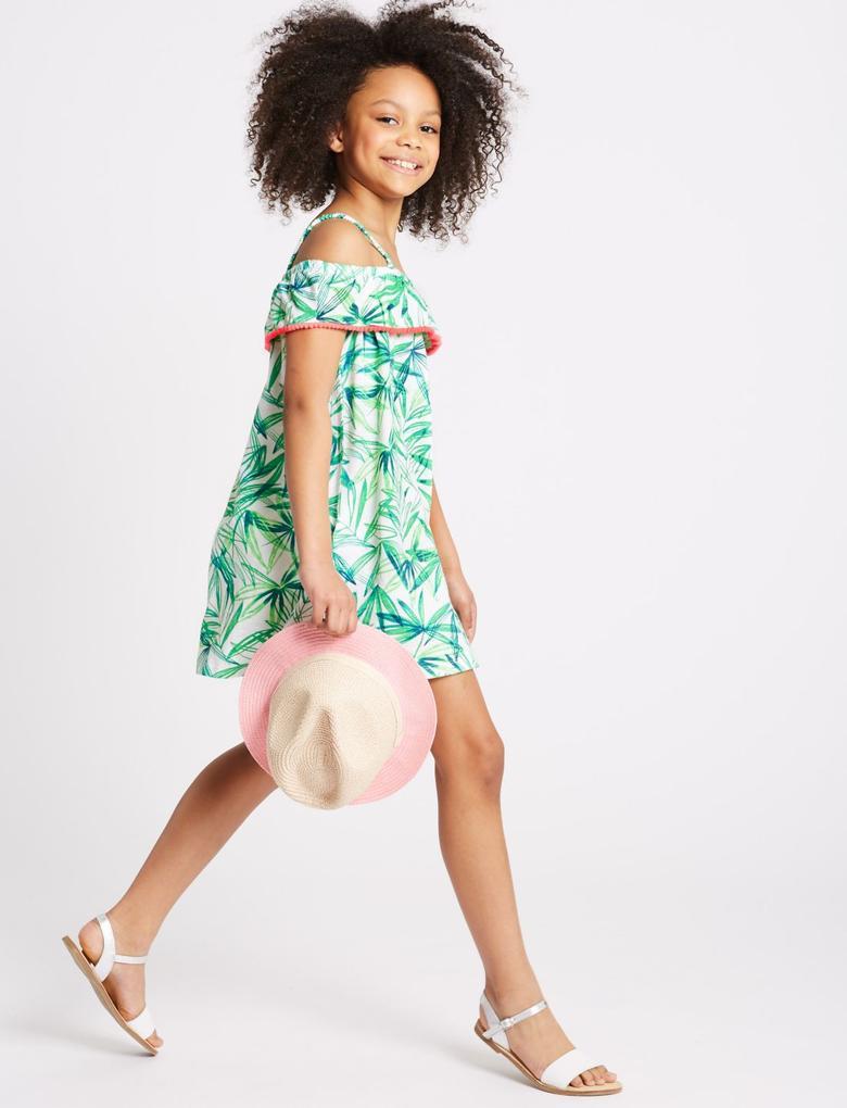 Yeşil 2'li Saf Pamuklu Elbise (3 - 16 Yaş)