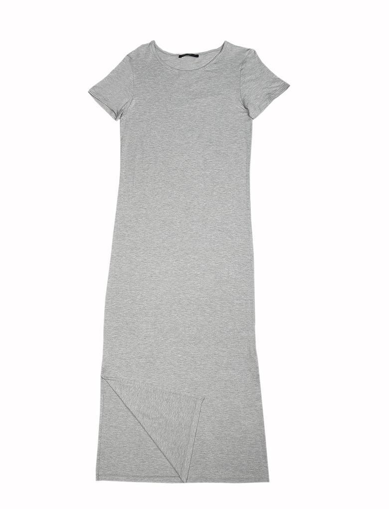 Kısa Kollu Düz Renk Elbise