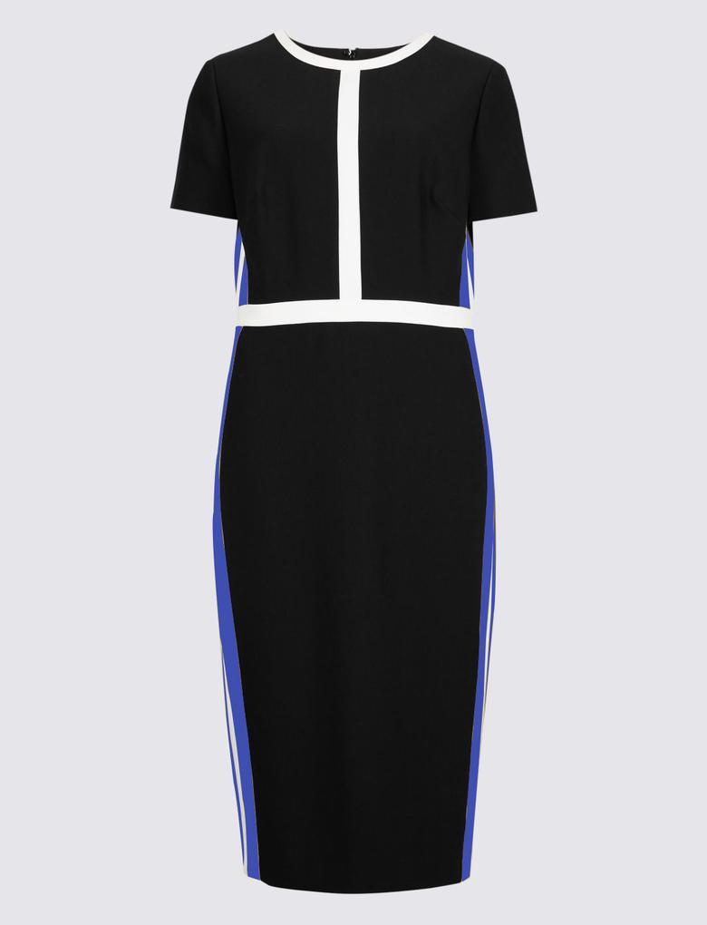 Siyah Kısa Kollu Kenarları Çizgili Elbise
