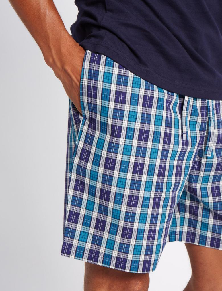 Saf Pamuklu Kareli Şortlu Pijama Takımı
