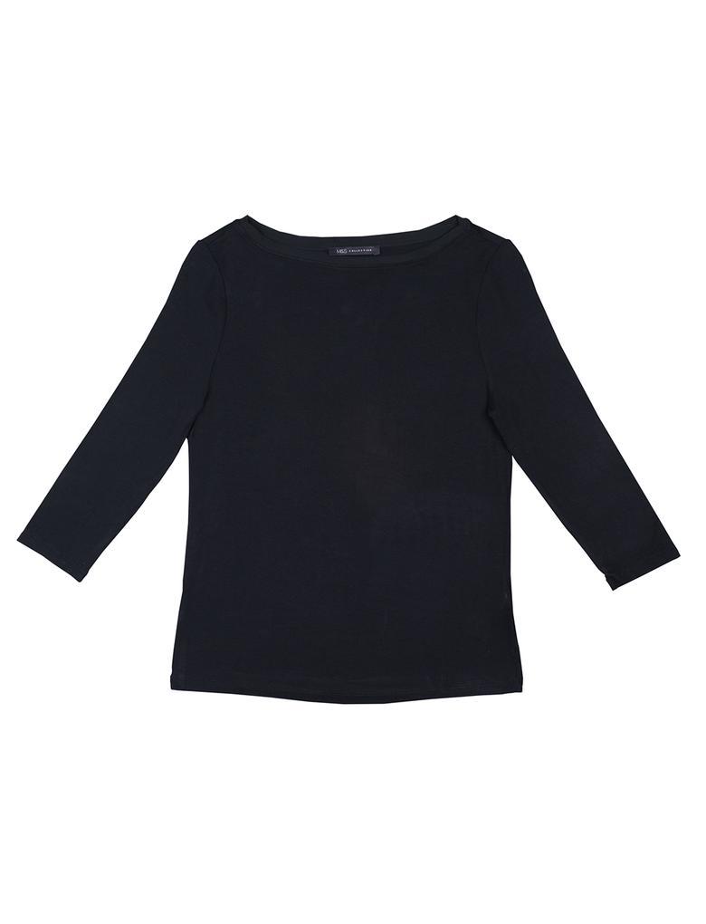 Kadın Siyah Düz Renk Jarse T-Shirt