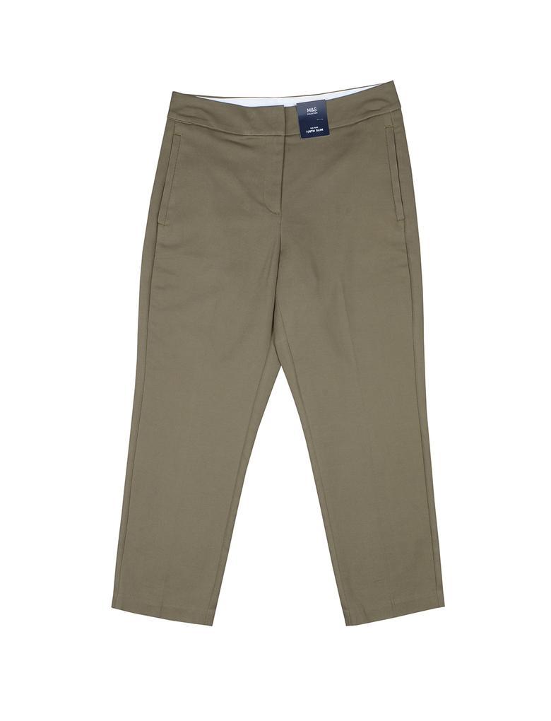 Yeşil Pamuklu Slim Pantolon