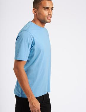 Saf Pamuklu Sıfır Yaka T-Shirt
