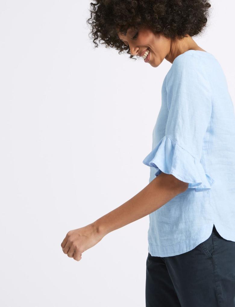 Saf Keten Bluz