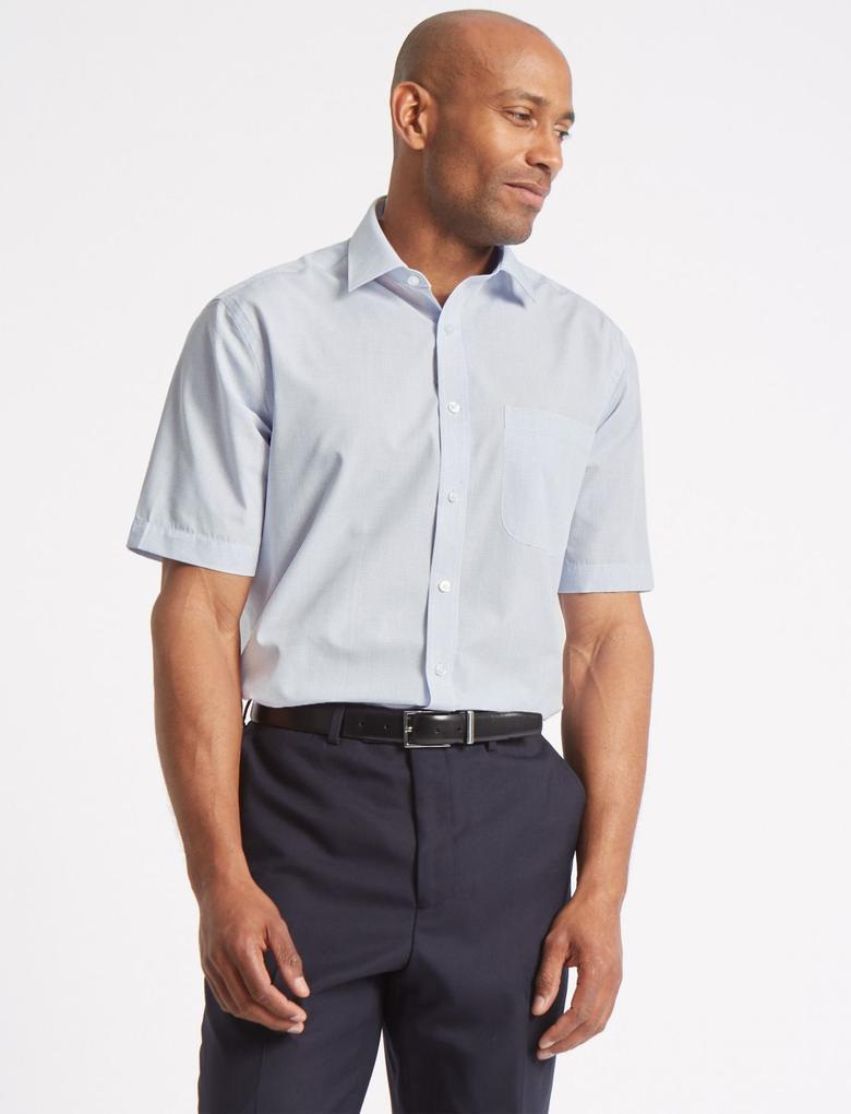Erkek Mavi 2'li Kolay Ütülenebilir Gömlek