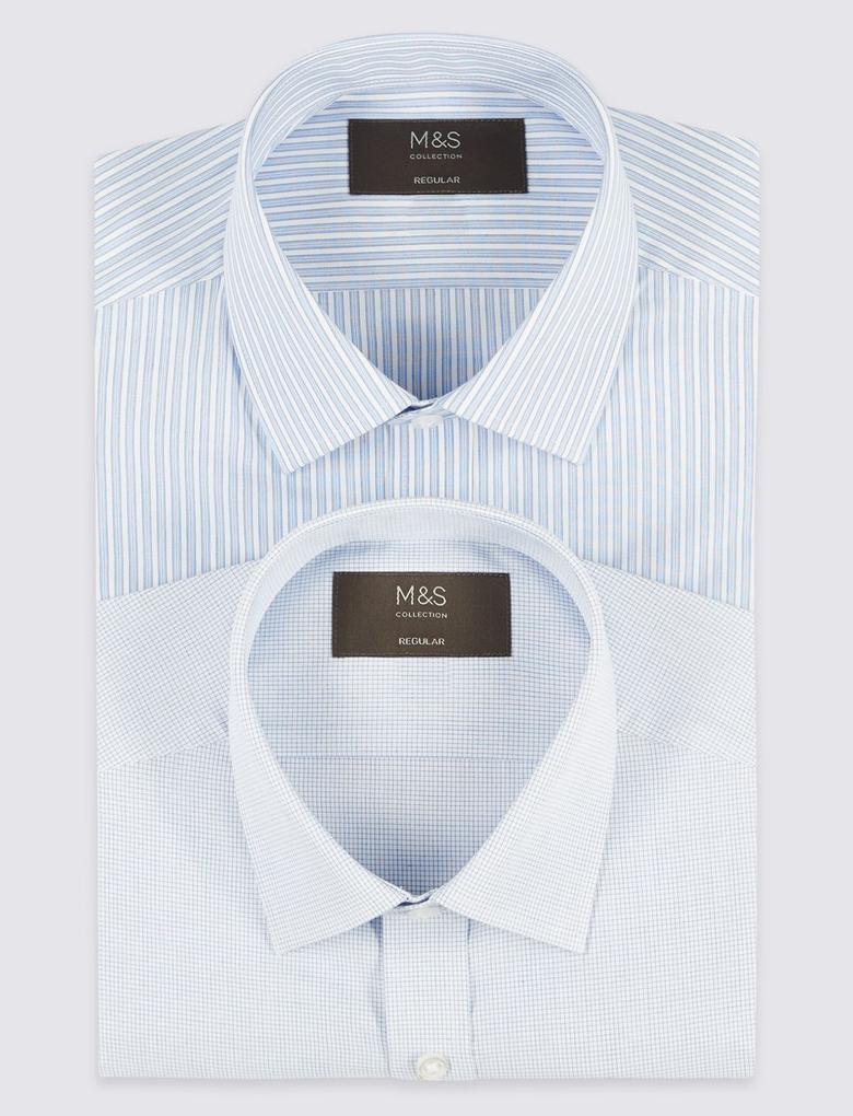 2'li Kolay Ütülenebilir Gömlek