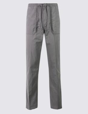 Regular Fit Saf Pamuklu Chino Pantolon