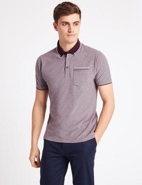 Slim Fit Saf Pamuklu Polo Yaka T-Shirt