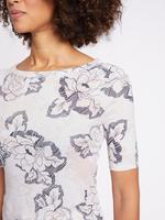 Beyaz Saf Pamuklu Çiçek Desenli Yuvarlak Yaka T-Shirt