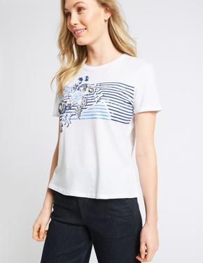 Kadın Bej Saf Pamuklu Desenli T-Shirt