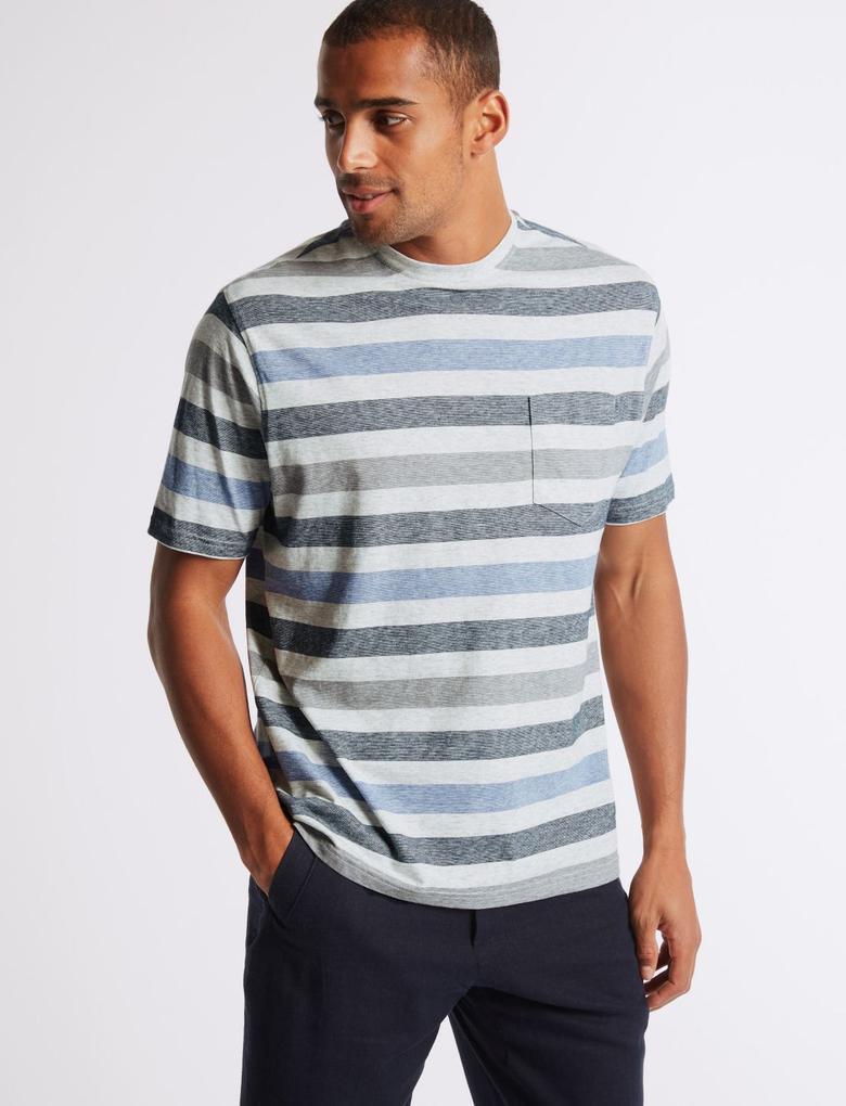 Bej Saf Pamuklu Çizgili Sıfır Yaka T-Shirt