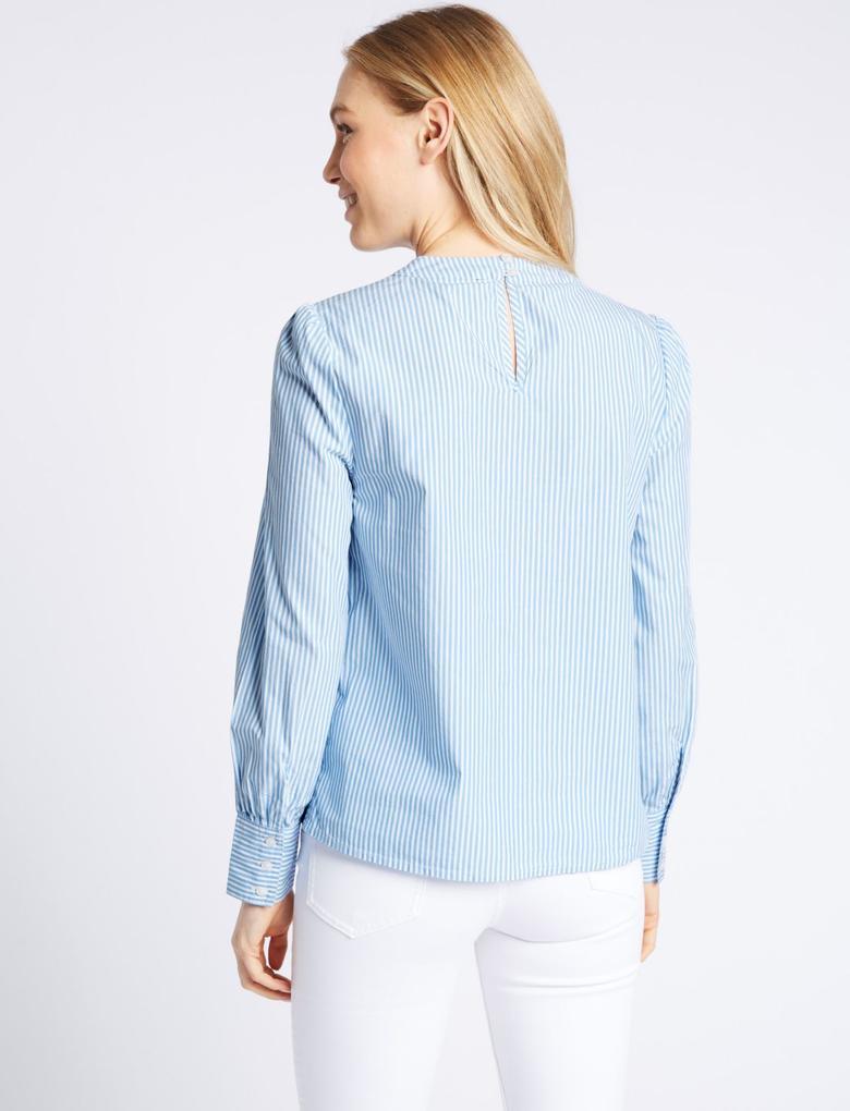 Mavi Saf Pamuklu Çizgili Bluz
