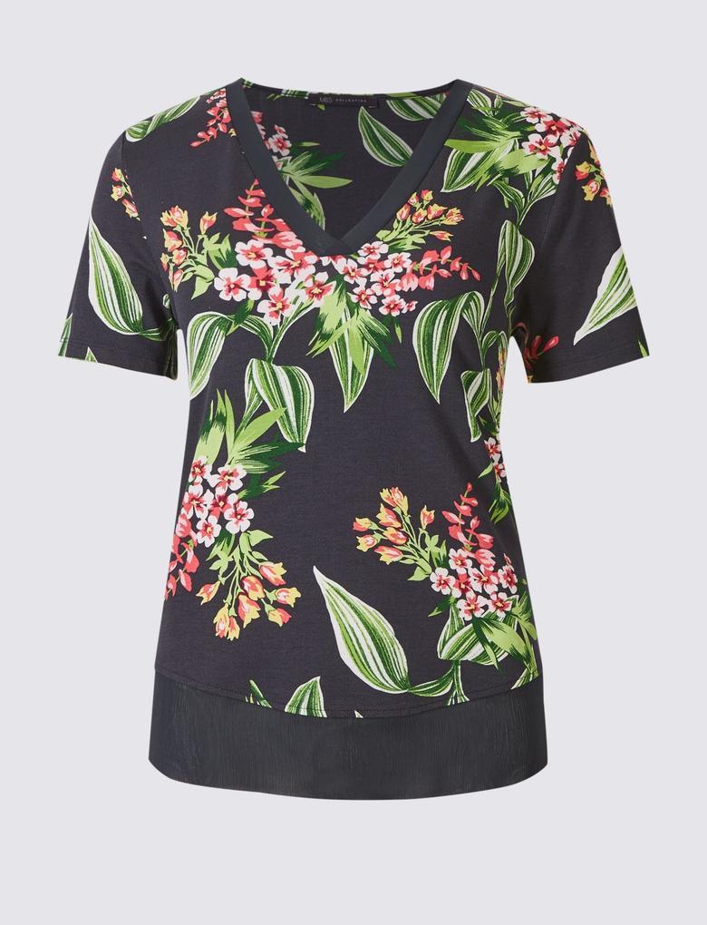 Lacivert Çiçek Desenli V Yaka Kısa Kollu T-Shirt