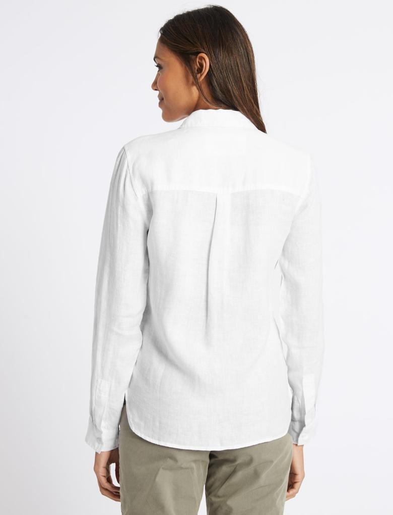 Beyaz Saf Keten Uzun Kollu Gömlek