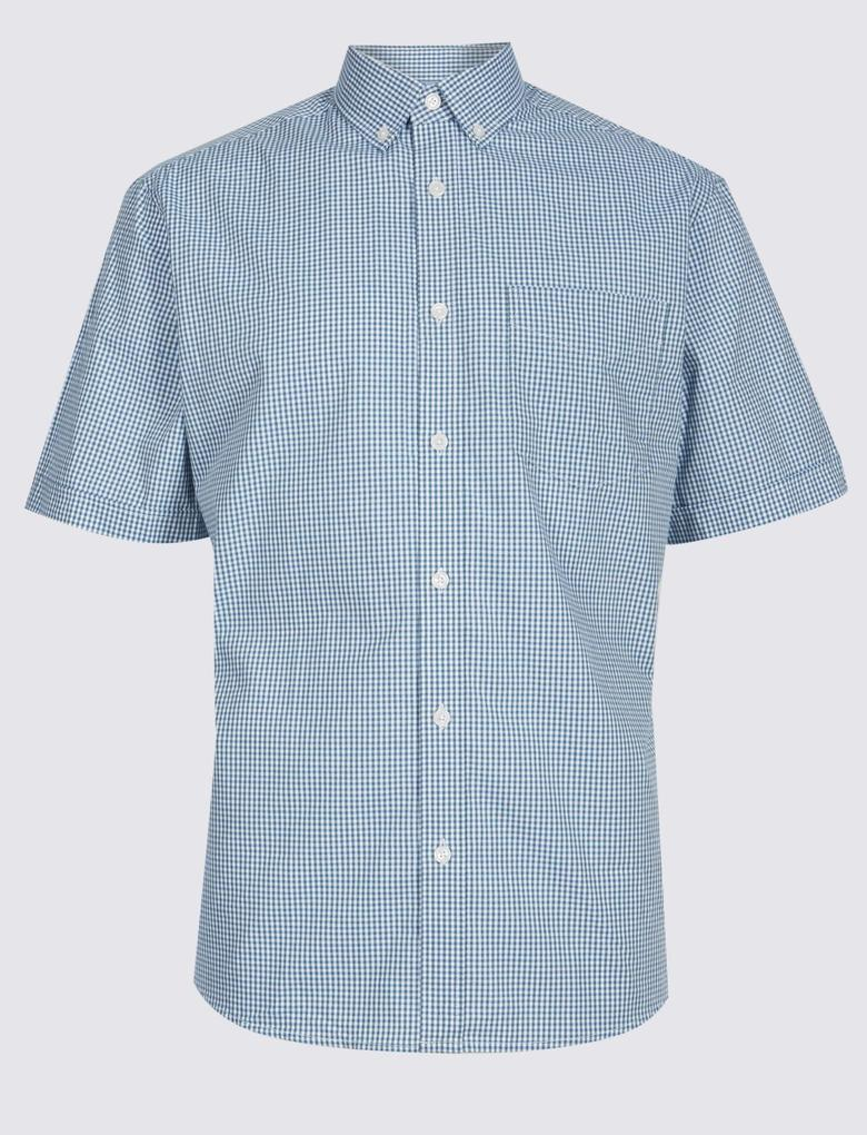 Mavi Saf Pamuklu Ekose Gömlek