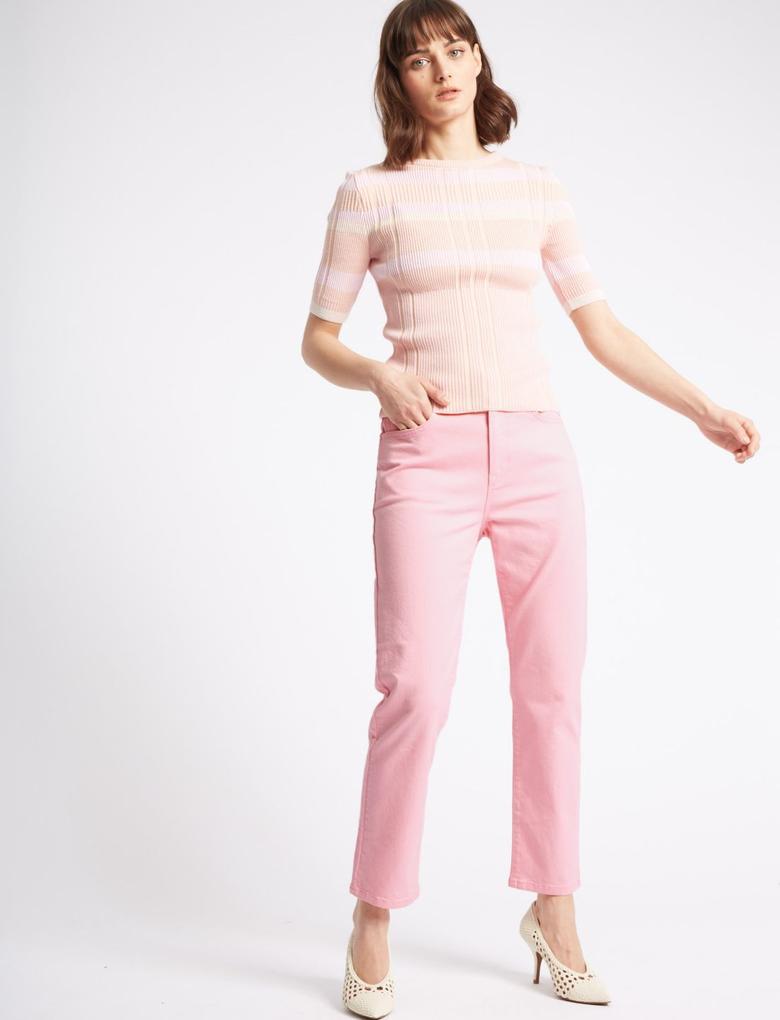 Kadın Pembe Straight Leg Bilek Hizasında Jean Pantolon
