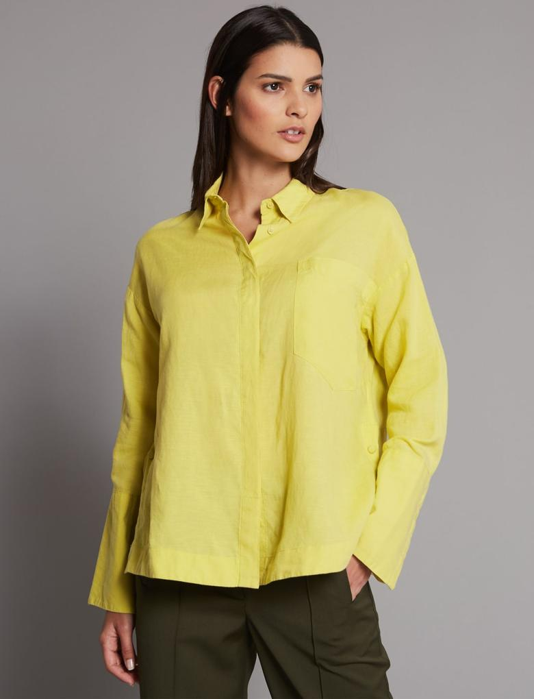 Yeşil Keten Gömlek