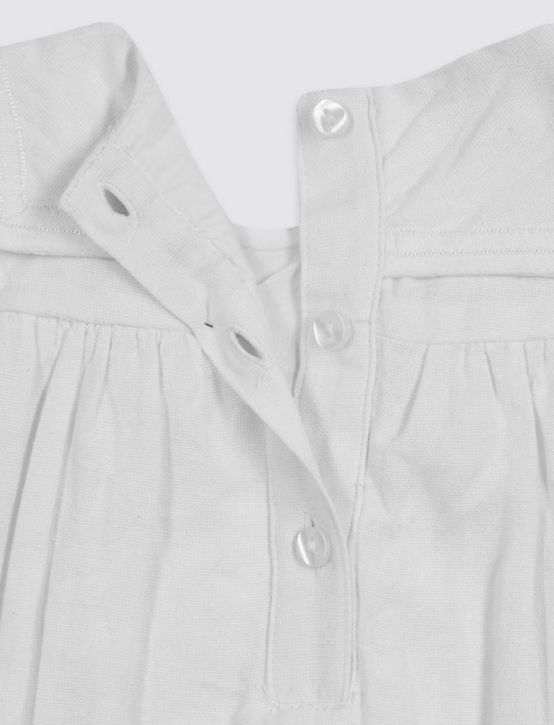 Beyaz 3 Parça Saç Bandı, Külot ve İşlemeli Elbise Takımı