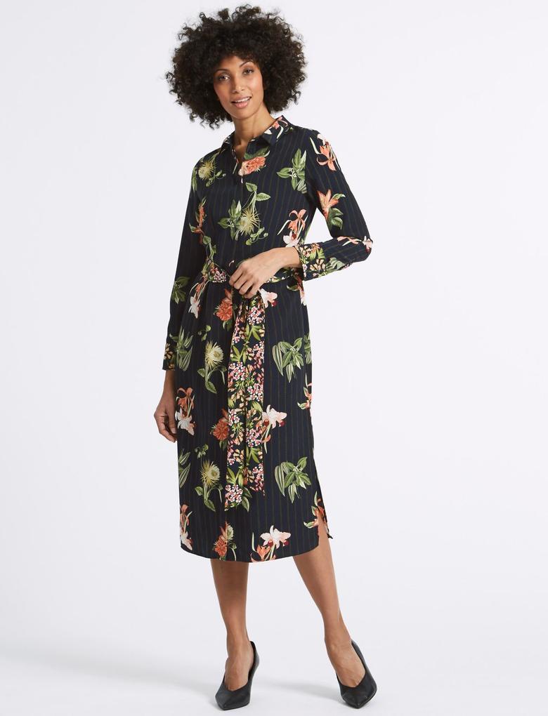Siyah Çiçek Desenli Uzun Kollu Midi Elbise