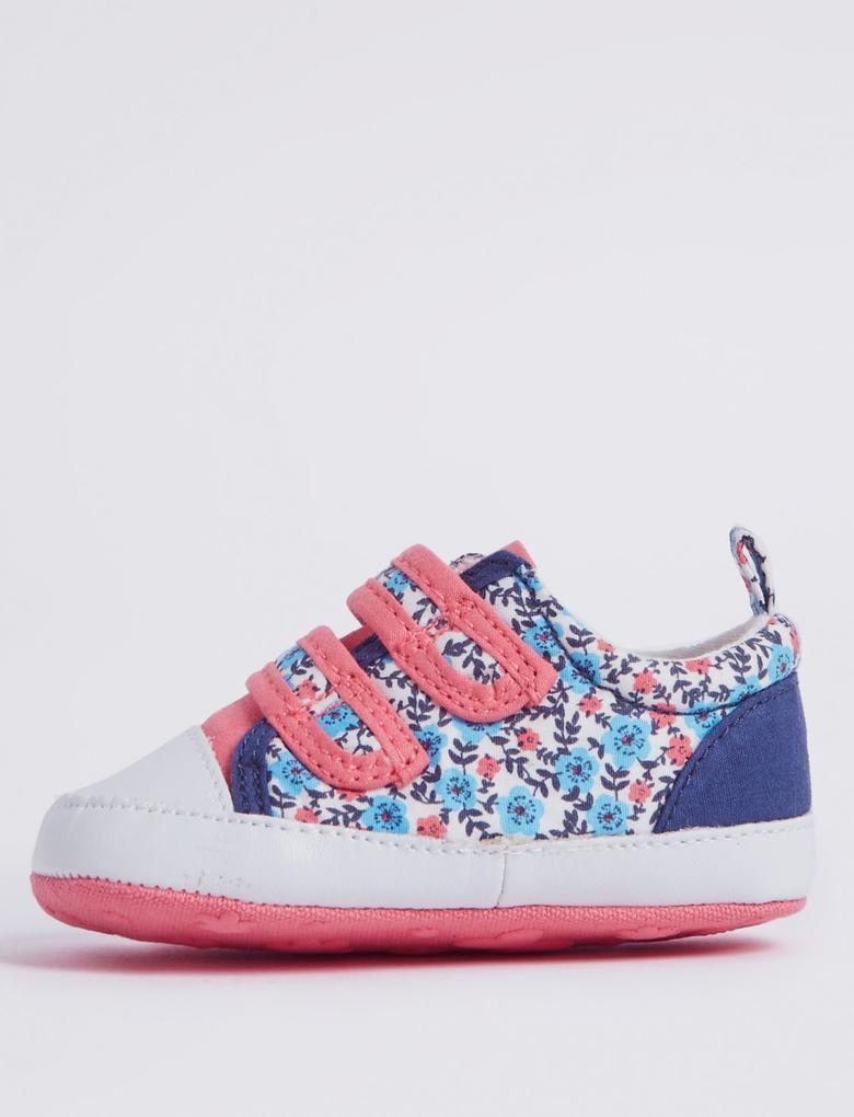 Mavi Fiyonk Detaylı Çiçek Desenli Cırtcırtlı Ayakkabı