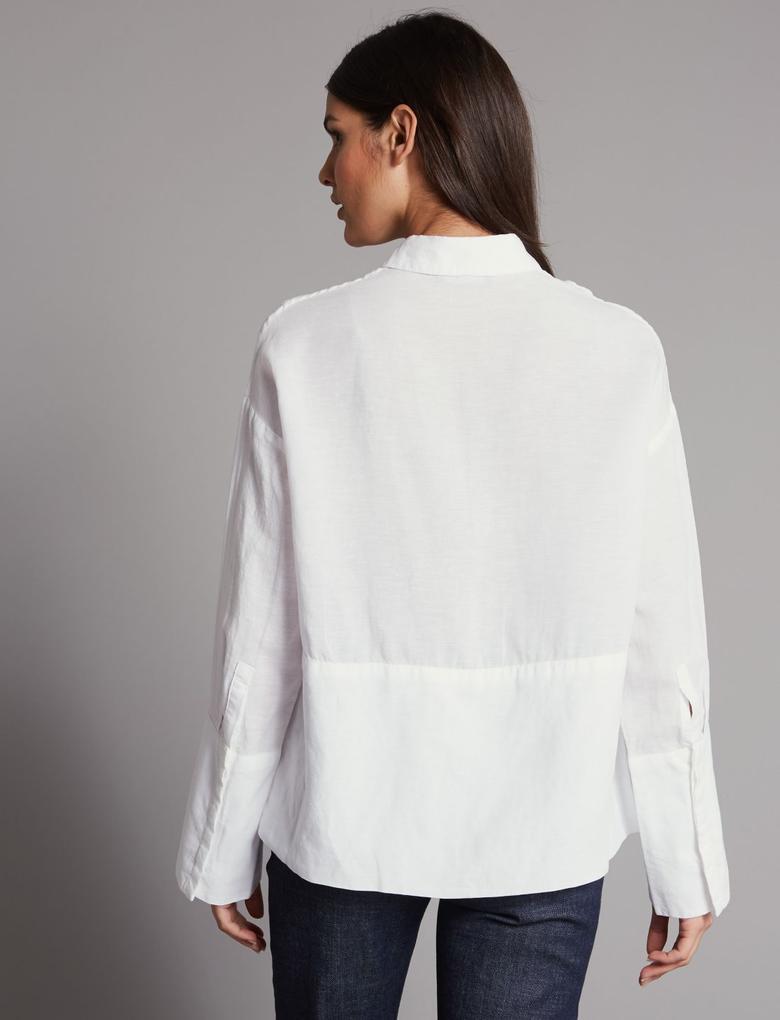 Beyaz Keten Gömlek