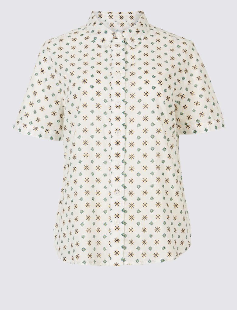 Bej Saf Pamuklu Desenli Gömlek