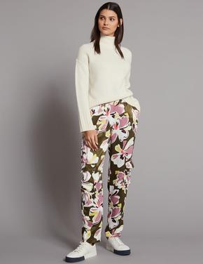 Kadın Mor Çiçek Desenli Tapered Leg Pantolon