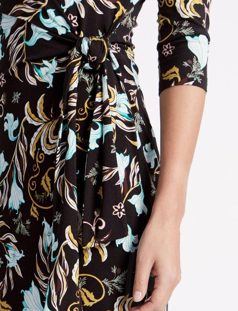 Siyah Desenli Bodycon Midi Elbise