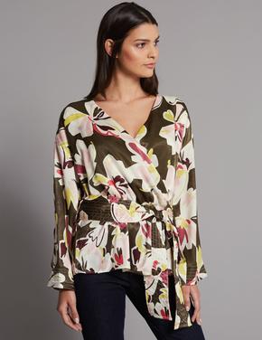 Çiçek Desenli Uzun Kollu V Yaka Bluz
