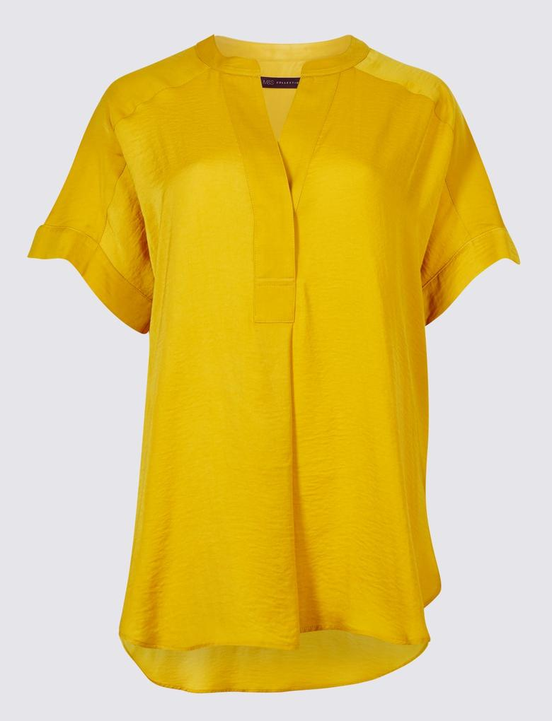 Yeşil Kısa Kollu Bluz