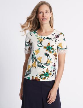 Lacivert Çiçek Desenli Dantel Detaylı Kısa Kollu T-Shirt