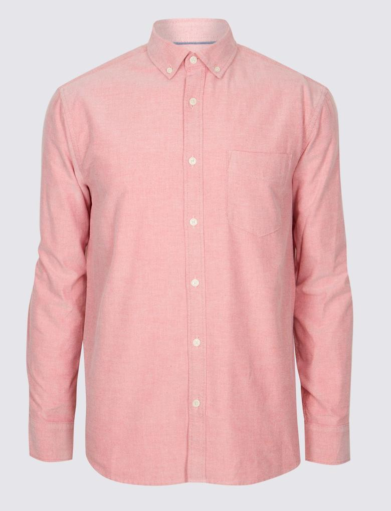 Kırmızı Saf Pamuklu Oxford Gömlek