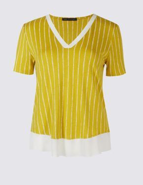 Dantel Detaylı Desenli Bluz