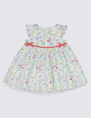 Bebek Beyaz Saf Pamuklu Çiçek Desenli Elbise