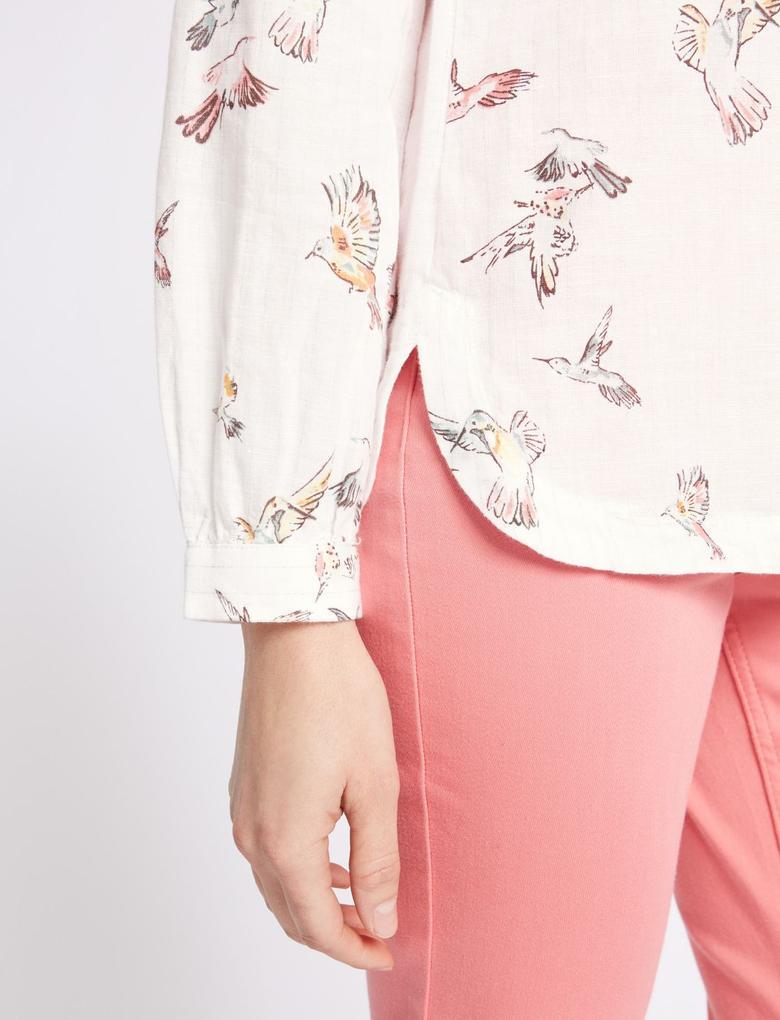Keten Karışımlı Desenli Uzun Kollu Gömlek