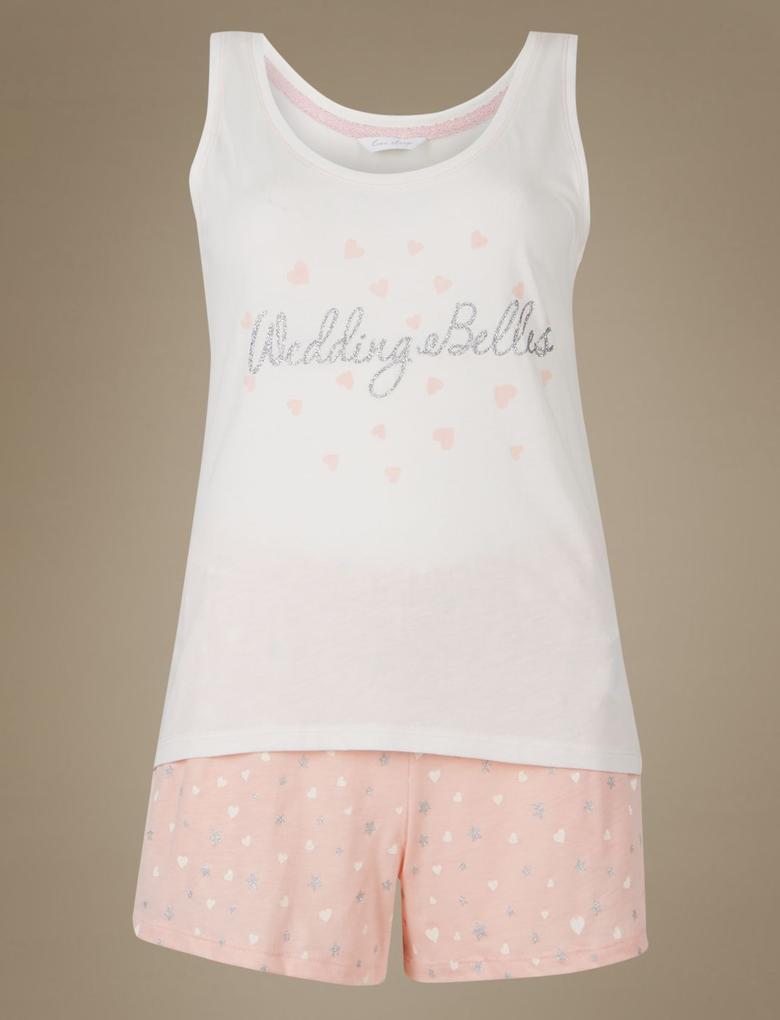 Pembe Bridesmaid Desenli Pijama Takımı
