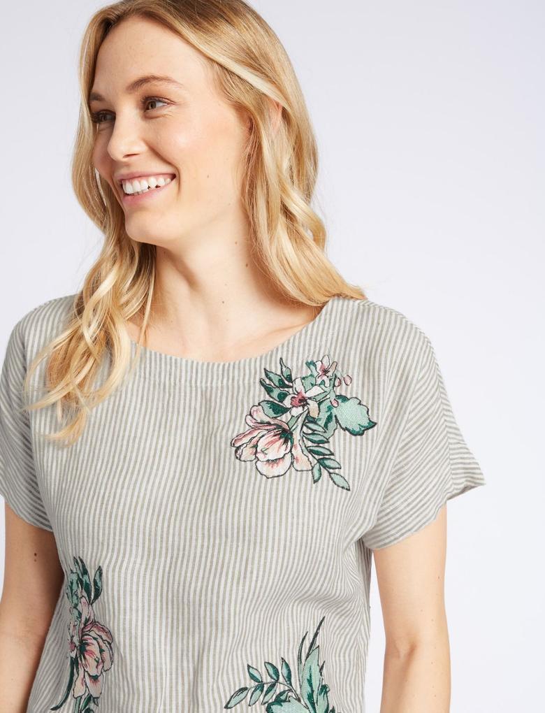 Kadın Multi Renk Saf Keten Çizgili İşlemeli Bluz