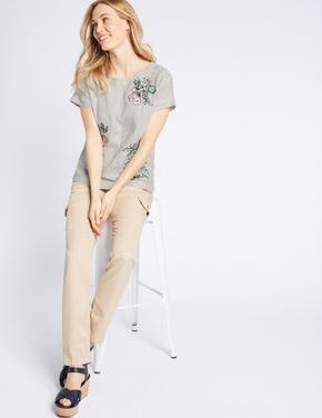 Multi Renk Saf Keten Çizgili İşlemeli Bluz